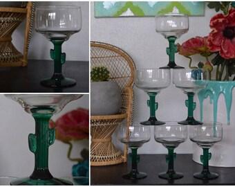 Cactus Margarita Glasses • Set of 6