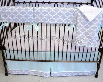 Gray, White & Icy Mint Quatrefoil Baby Bedding Unisex/Gender Neutral Nursery : Monroe