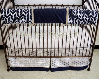 Navy, Tan & Ecru Bumperless Baby Bedding Morgan