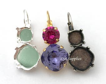 ss39 and 12mm Cushion Cut Mix Stone Earrings Settings, Nickel Free Gold / Silver / Antique Silver Plated