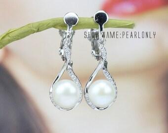 clip pearl earrings for non pierced ears,freshwater ivory white clip on pearl earrings,clip on earrings pearl,bridesmaid pearl earrings