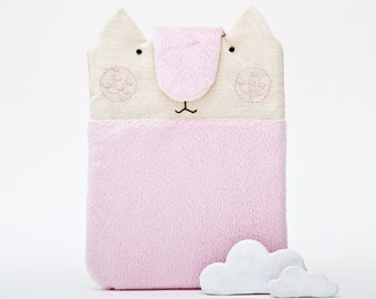 Fluffy Pink iPad mini Case, Cat iPad Mini sleeve, birthday gift for teen, Nook Touch sleeve, Kindle Cover, Pink eReader Case Girlfriend Gift
