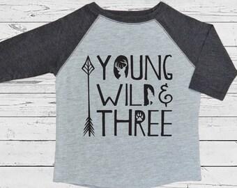 Young Wild Three Raglan Shirt - Wildlife Three Year Old Shirt - 3rd Birthday Shirt