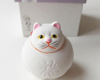 "VINTAGE White Color Cat Earthenware Bel , Pottery Bell "" Dorei "" Japanese Bell , Cute Face , Lucky Charm , Home Decor , Collector"