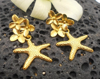 Gold Post Earrings, Gold Starfish and Flower Earrings, Beach Jewelry, Starfish Earrings, Beach Wedding