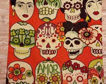 Frida Kahlo Calavera Amor hand sewn zipper bag, makeup bag
