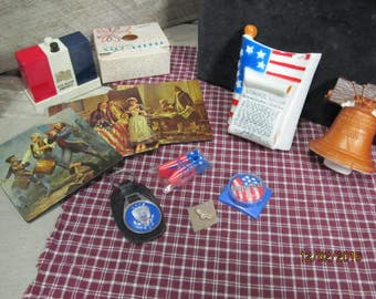 Nice Assortment Lot of Vintage American Flag Patriotic Presidential Collectibles~ Salt & Pepper~ Night Lights~ Coasters~ More