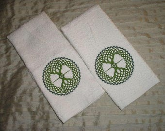 PAIR of hand towels - Celtic Tree of life - EMBROIDERED 15 x 25 inch for kitchen or bath