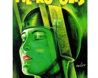 """50% Off Estate Sale Vintage Horror Science Fiction Movie Poster, PM 004, Art Deco 1927 Metropolis, 11"""" x 14"""""""