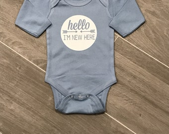 Hello I'm New Here Onesie,going home outfit, baby boy onesie, personalized onesie