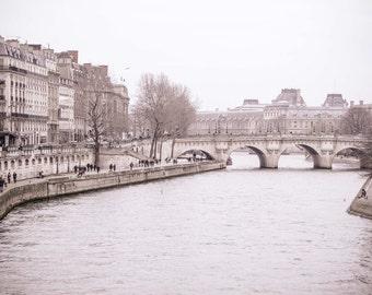 Paris Photography, Paris Photo, Paris in Winter, Seine River, Paris Art, Living Room Art, Large Wall Decor