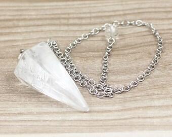 Rock Quartz Point Pendulum Pendant -- Healing Crystal Point Pendant with Silver Plated bail Wholesale 1,3,5,10,50,100