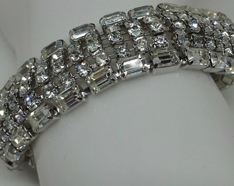 Kramer bracelet 1950's silver tone five raws rhinestones