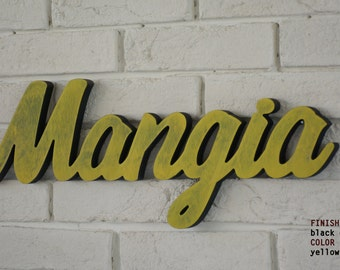 Chic Italian  Sign Mangia wood sign kitchen WALL decor  home décor, Italian saying Rustic style decoration Kitchen & Dining