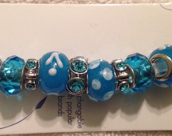 Darnice 9 piece Mix and Mingle Aqua Blue Glass Metal Lined Beads....Interchangeable with Popular Brand Bracelets..... NEW