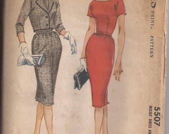 McCalls 5507 Misses Dress and Jacket, Size 12, Bust 32, Vintage 1960