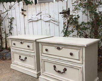 Vintage French Country Night Stands - Matching Pair - ecru