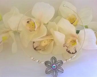 Silver Filigree Flower Choker, Bridal Necklace, Bridesmaid Necklace, Bridal Choker, Bridesmaid Choker