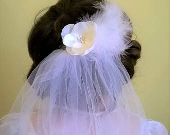 Satin, Crystal and Feathered Flower Hair Fascinator, Bridal Hair Fascinator, Bridesmaid Hair Fascinator, Flower Girl Hair Fascinator