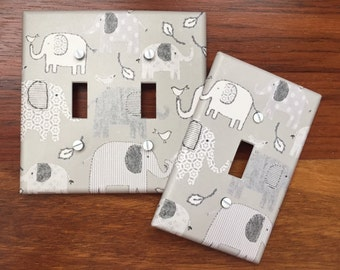 Grey Elephant light switch cover baby nursery // pottery barn inspired // SAME DAY SHIPPING**