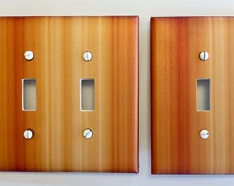 Zebra Wood light Switch Plate Cover // medium brown image // SAME DAY SHIPPING**