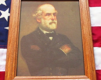Framed Civil War Painting on canvas, Portrait of General Robert E Lee. 1865