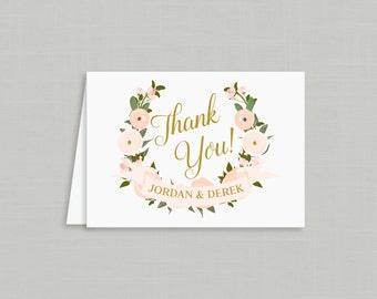 Wedding Thank You Cards / Garden Floral Crest Invitation Suite / Blush Floral Weddings / #1102