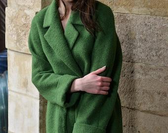 SALE!! Olive wool coat, women coat, oversize coat, maxi coat, warm coat, spring coat, green women coat, autumn coat, belted coat, outrwear