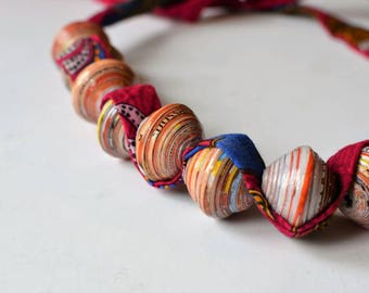 Sunset Paper Beads Bracelet from Africa, Combined with Red-Purple Fabric, Hand-Made, Eco-Friendly