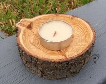 Candle holder hand turned from Australian Cypress timber.