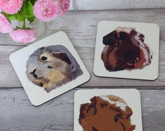 Guinea pig coasters. Set of 3. Guinea. GP. Small pet. Gift for her.