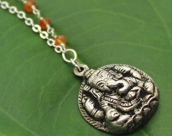 Buddha Necklace - Ganesh Pendant, Carnelian Necklace, Beaded Necklace, Yoga Jewelry, Meditation Jewelry, Rosary Chain, Ganesh Necklace