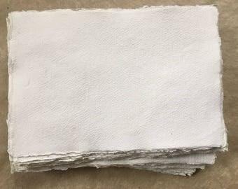50 x White A6 Cotton Rag, 10 sheets Khadi handmade paper, 14.8 x 10.5cm, 5.8 x 4.1 inches, medium surface, letter size handmade paper