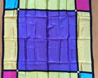 Vintage Early 1990s Oversized Jewel Tone Color Block Geometric Echo Silk Scarf