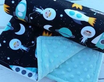 Minky baby blanket-Personalized boys mint minky baby blanket in space/rockets-customized baby blanket with applique name-baby shower gift