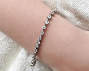 Bridal Bracelet Crystal Bracelet Wedding Silver Bracelet Bridal Jewelry Wedding Accessories Tennis Bracelet Swarovski Crystal Bracelet B244S