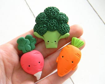 Veggie, Vegetables, Broccoli, Carrot, Radish, Kawaii Magnets Set