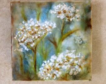 Original encaustic painting - Yarrow, mixed media, encaustic art