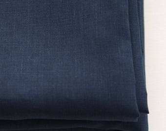 Pure Linen Fabric Navy By The Yard