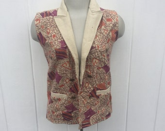 1970s Wool Vest Abstract Patterns Size Small