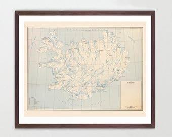 Iceland Map - Iceland Map Art - Map Decor - Vintage Map - Iceland Art - Iceland Poster - Reykjavik - Reykjavik Map - Reykjavik Art -