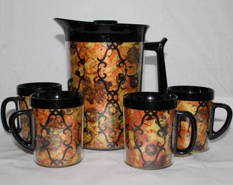 Vintage 6 piece Westbend Thermo Serv Carafe & Mug Set FUNKY RETRO Pattern EUC