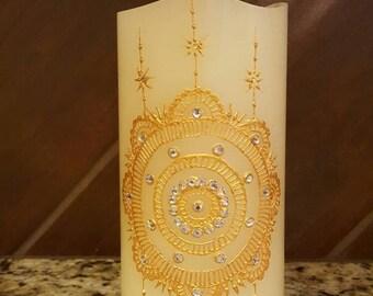 Led flameless candle/henna art/indian/diwali decor/wedding center piece/christmas decor/home decor/house warming/holiday gifts