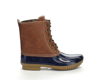 Navy Embroidered Duck Boots