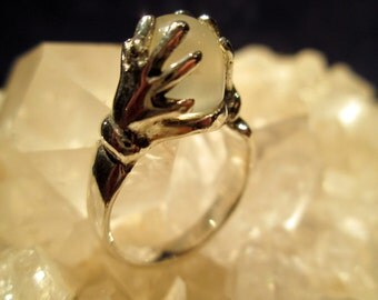 """Magical Moonstone """"Crystal Ball"""" Ring ~Sterling Silver~ Hand Cast Original"""