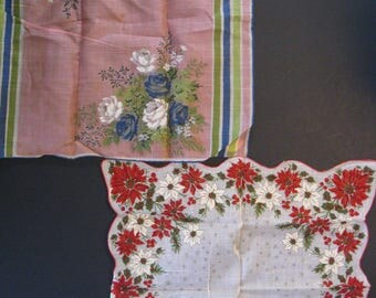 2 vintage hankies. Pink with stripes and flowers, and poinsettias. Christmas and spring floral handkerchief lot. mid century 1960s vintage.