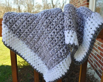 FREE SHIPPING-Crochet Baby Blanket- Beautiful Gray and White Blanket - Made with Two Strands of Soft Cotton Yarn for more Structure