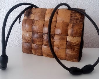 Vintage coconut cube .Coconut bag.