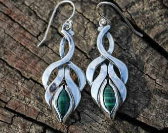 MALACHITE Sterling Silver Earrings with Hooks Celtic Nature Flower Bloosom Czech Jewelry Jewellery Gem Gemstone Elvish Fantasy Malachit
