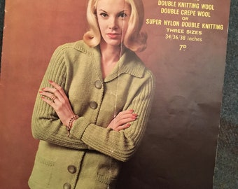 Vintage Sirdar 1960s Knitting Pattern - Women's Double Knit Cardigan-GC